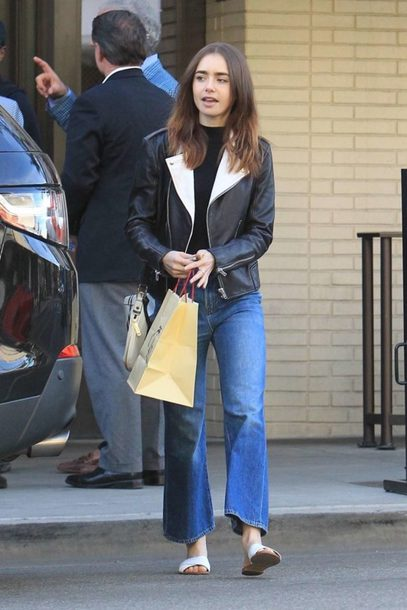 shoes slide shoes jeans jacket lily collins streetstyle fall outfits