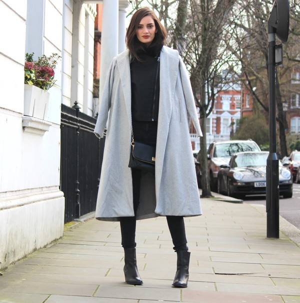 Grey Long Sleeve Lapel Pockets Oversized Coat - Sheinside.com