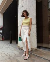 top,yellow top,skirt,shoes,sandals,white sandals,bag
