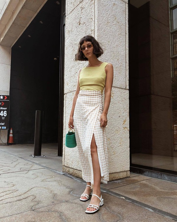 top yellow top skirt shoes sandals white sandals bag
