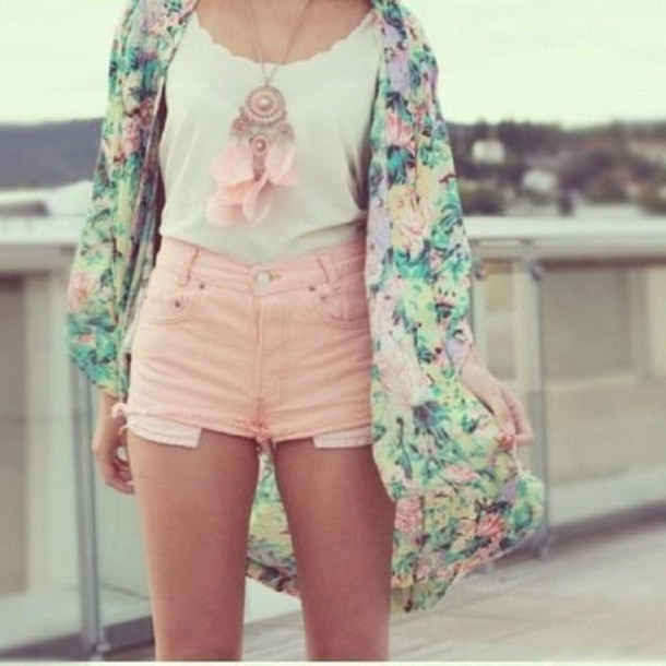 Sweater: pink shorts, denim shorts, pastel pink, floral kimono ...