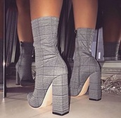 shoes,plaid,booties,gray boots,heeled booties,sock heels