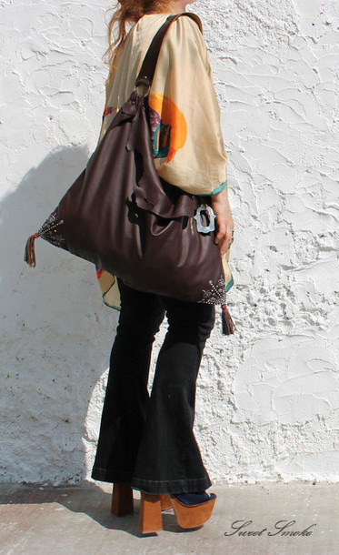 bag large bag oversized leather bag' oriental bag oriental leather bag indian bag india bag sweet smoke bag large leather bag tassels bag ooak bag chocolate bag kat von d