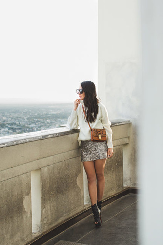 wendy's lookbook blogger sweater skirt shoes t-shirt sunglasses bag mini skirt silver skirt ankle boots white sweater