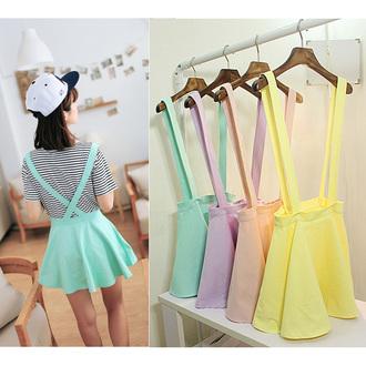 skirt high waisted suspenders mini skirt pastel