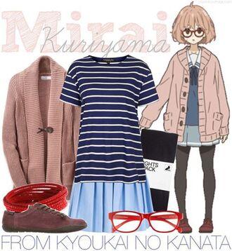 skirt anime nerd pink blue