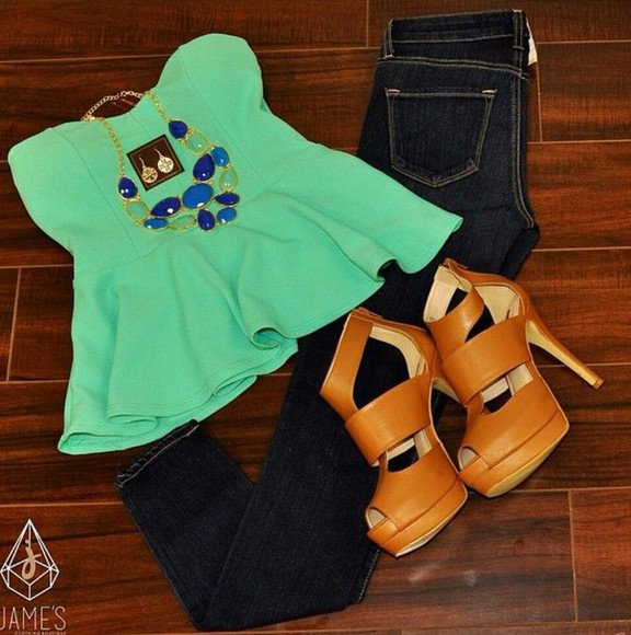 jeans necklace greenstraplesstop peplum top tanheals earrings