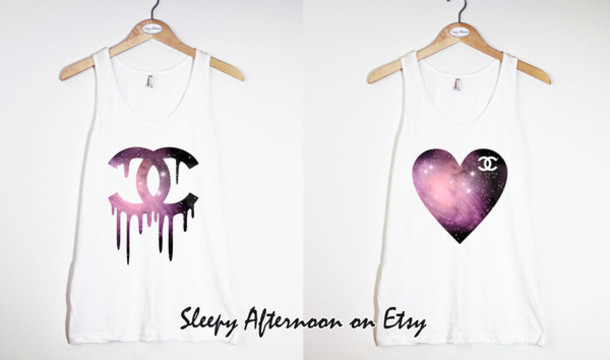 shirt galaxy print chanel heart cute tank top white tank top