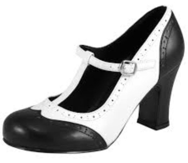 shoes black and white wing tip heel