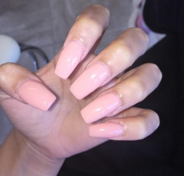 nail polish, getlikeyas, pastel colors, long nails, light peach ...