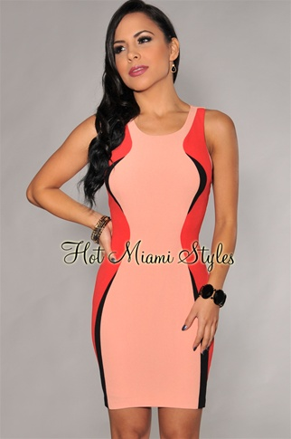 Salmon Multi Color-Block Racer-Back Dress