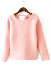 blouse,sweater,sweatshirt,pink,perles,perls,scuba top,sheinside,Choies