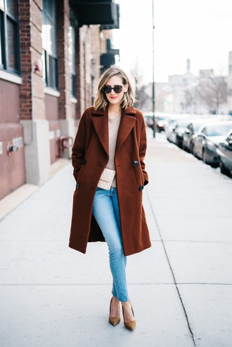 see jane blogger coat sweater shoes jeans bag