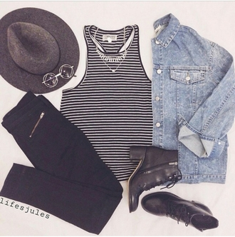 top shirt stripes stripy black and white striped shirt denim jacket denim jacket vintage coat sunglasses shades fedora hat boots booties ankle boots tumblr girl tumblr outfit fashion inspo ineptitude inspiration stylish style trendy teenagers tank top