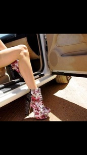 shoes,high heels,floral high heels,platform shoes,platform high heels,chunky heels,ankle boots