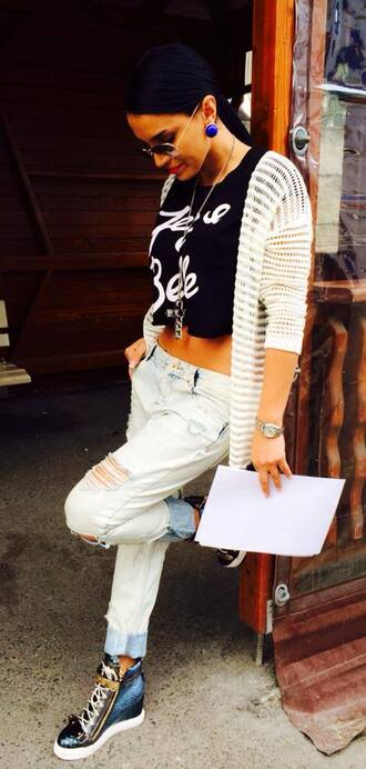 t-shirt top cute pretty summer spring black white writing quote on it jeans jacket tumblr fashion style crop tops blue brown shirt summer outfits cute outfits outfit shoes