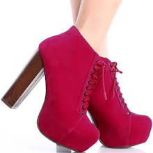 Ladies Platform Booties High Heels Faux Suede Shoes Womens Lace Up Ankle Boots