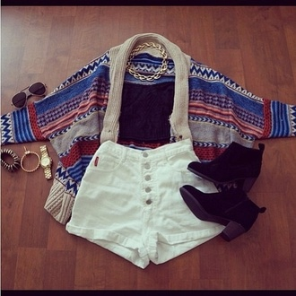 jacket bandeu top tribal pattern boots high waisted shorts shorts shoes sunglasses jewels