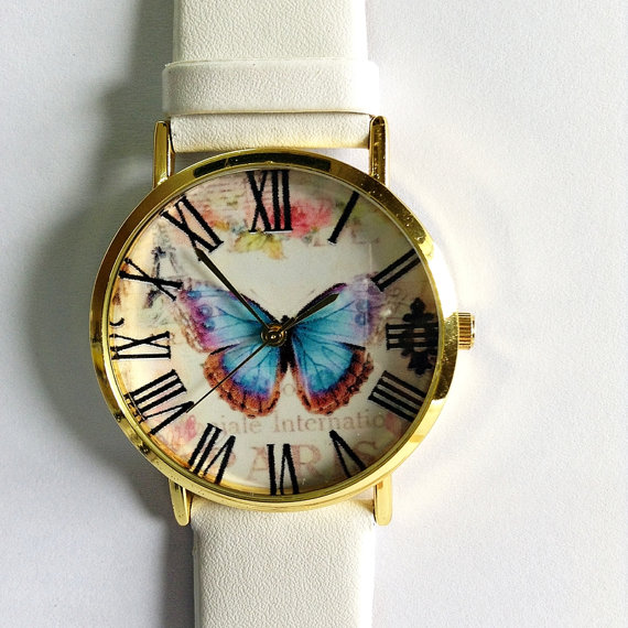 Vintage Butterfly Watch  Vintage Style Leather Watch by FreeForme