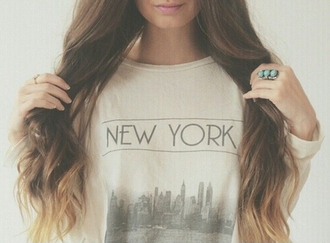 t-shirt jewels sweater jewelry ring turquoise boho boho jewelry new york sweater new york city shirt new york shirt top style fashion clothes white top grey top cute top