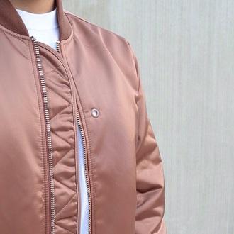 jacket coat baseball jacket bomber jacket pink zip winter outfits summer peach beige