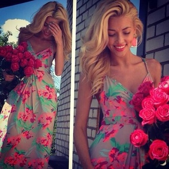 dress floral flowers green pink girly vintage pastel cute colorful floral long dress pink floral print maxi dress belt