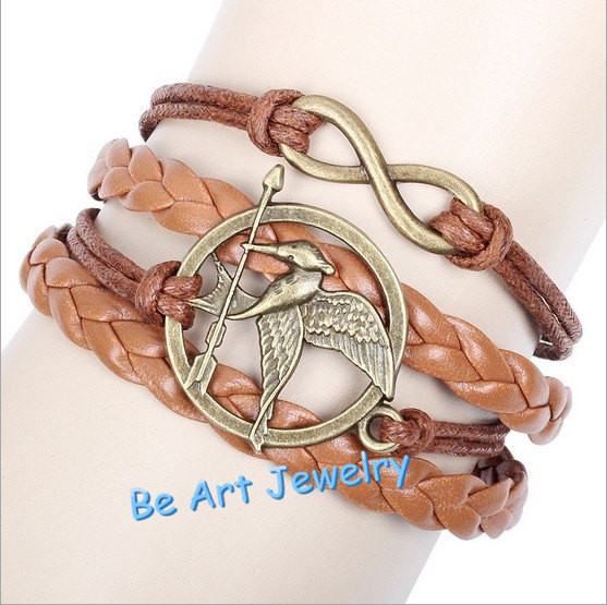 Infinity bracelethungry game bird by giftleathernecklace on etsy