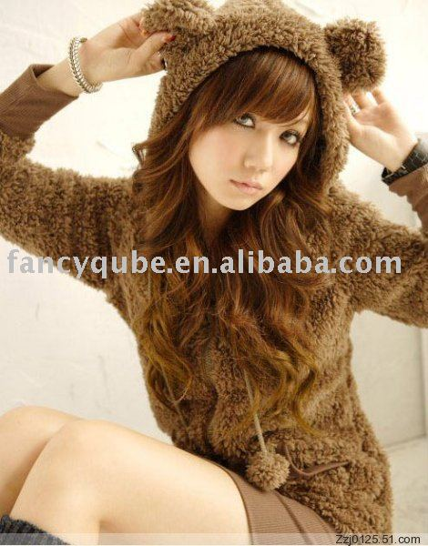 Wholesale cute lolita comfy bear ear hoodie jacket jp144 (brown,white,black,grey)