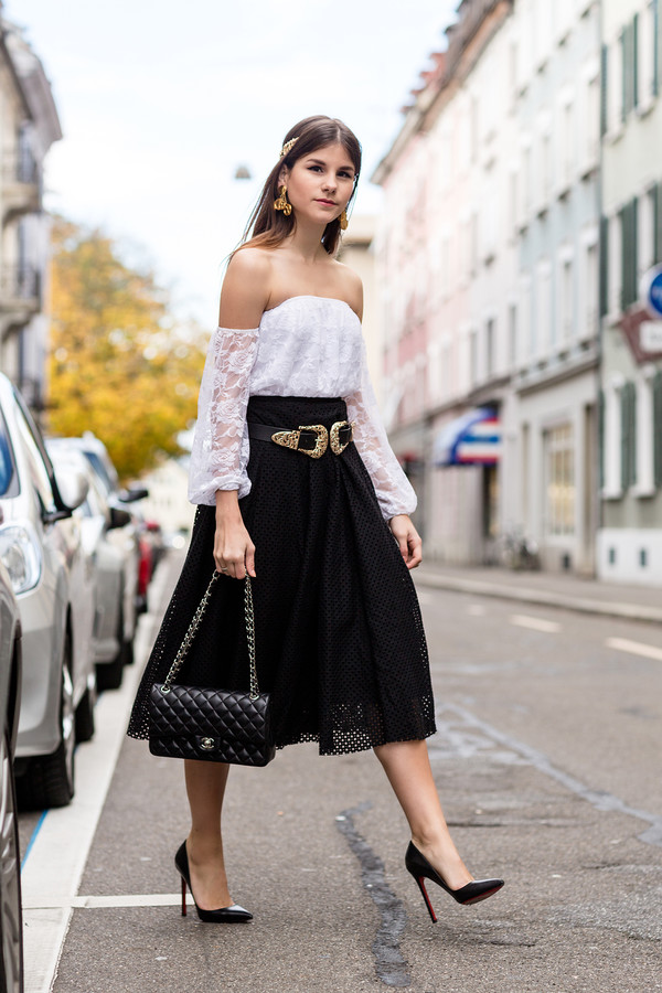 the fashion fraction blogger top belt bag jewels midi skirt gold eyelet detail eyelet skirt off the shoulder top off the shoulder black skirt black bag chanel bag buckle belts double buckle belt