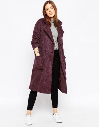 coat mauve purple fall outfits autumn/winter fall coat