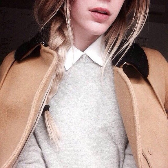 grey sweater camel coat preppy indie design collar top collar coat peter pan top alexa chung