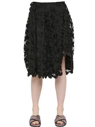 skirt tulle skirt embroidered floral black