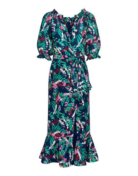 Saloni Olivia V-neck Floral Ruffled Wrap Silk Midi Dress Green Multi