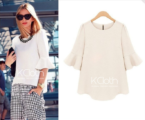 Kcloth ruffle detailed chiffon blouse in white  t1830