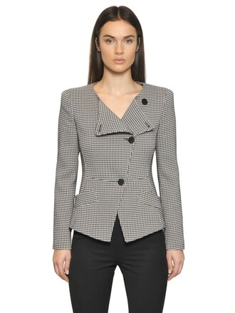 jacket houndstooth white black