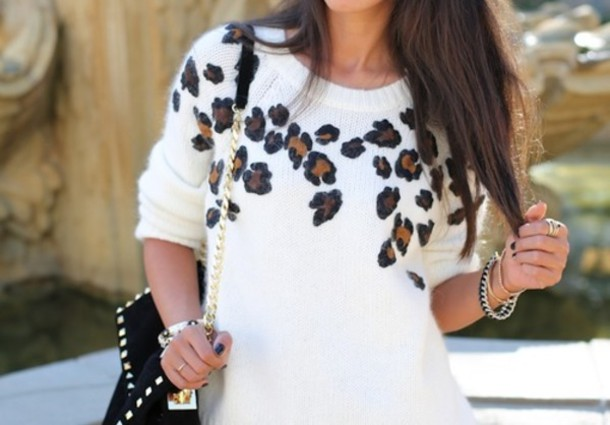 Sweater: leapord, leopard print, knitted sweater, leopard print ...
