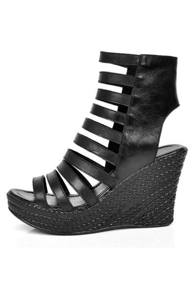 Vintage leather platform wedge sandals