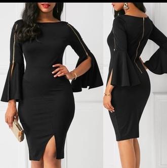 dress black dress gold aesthetic slik spandex
