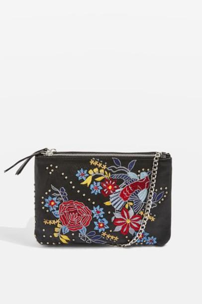 Topshop cross bag floral leather black