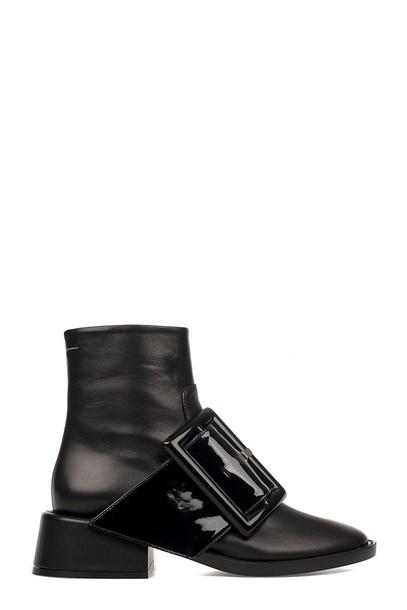 Mm6 Maison Margiela boot leather black black leather shoes