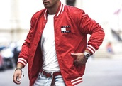 jacket,red,tommy hilfiger,bomber jacket