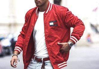 jacket red tommy hilfiger bomber jacket