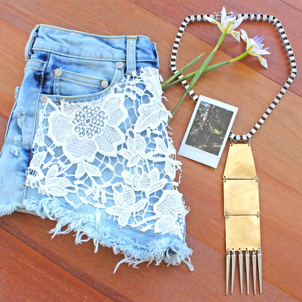 shorts denim metal silver gold cut offs cut off shorts denim shorts lace lace shorts crochet crochet shorts necklace jewelry long necklace metallic jewels