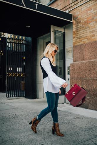 shoes tumblr boots leopard print bag red bag denim jeans blue jeans shirt white shirt