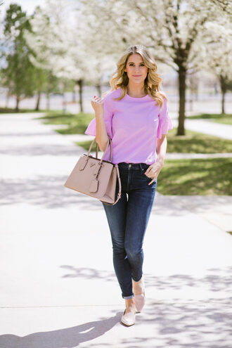 ivory lane blogger top jeans purple top handbag loafers