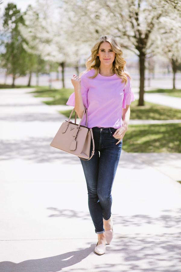 ivory lane blogger top jeans purple top handbag loafers