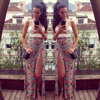 skirt maxi skirt floral flowers long maxi slit multicolor white crop tops half shirt cut out shirt