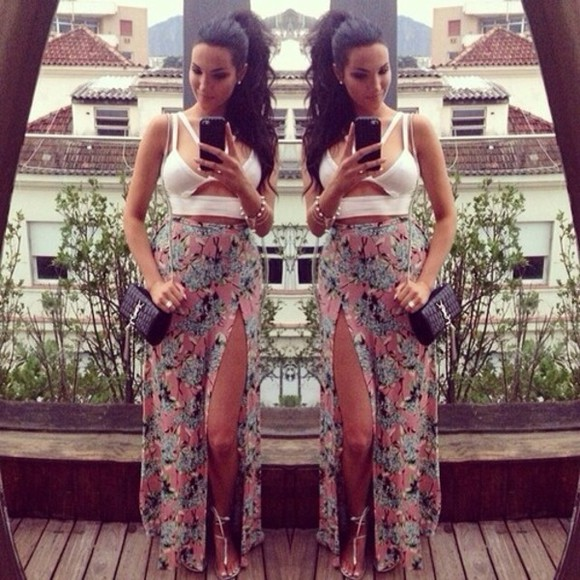 skirt slit long maxi, floral, multicolor, white crop top, half shirt, cut out shirt maxi skirt floral flowers