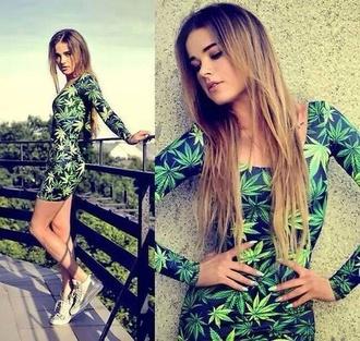 dress weed weed leaf weed leaves weed dress weed print bodycon slim fit summer dress summer tumblr pintrest leaf