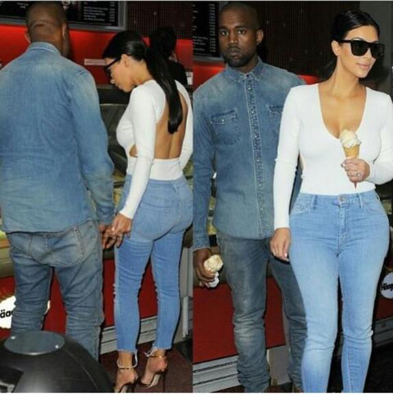 blouse white top open back tshirt kim kardashian